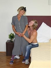 The old slut is smoking hot as she takes his cock down her throat and lets him fuck her box