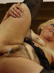 Her soft old body is eager for penetration and he visits her mouth and her pussy hard