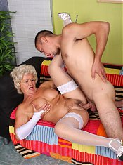 Big boobed grandma Francesca showing off her hairy pussy and fucking her younger BF live